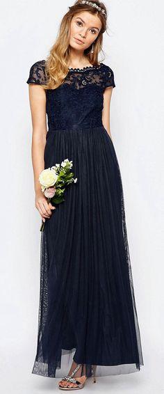 6f81cd169ea9 $109.69-A-Line Appliqued Short-Sleeve Chiffon Long Ink Blue Bridesmaid Dress  With. ucenterdress.com
