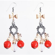 Coral chandelier earrings MAIDEN-ART ❤ liked on Polyvore featuring jewelry, earrings, charm jewelry, earrings jewellery, charm earrings, coral jewelry and coral jewellery