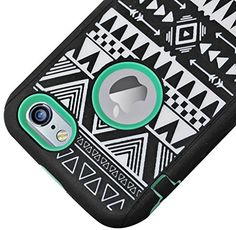 """myLife Hybrid Shock Absorbing {Built In Screen Protector} Case for iPhone 6 (6G) 6th Generation Phone by Apple, 4.7"""" Screen Version {Bombshell Black + Mint Green """"Aztec Design"""" Neo Hybrid Three Piece with Layered Flex Gel SECURE-Fit Armor} myLife Brand Products http://www.amazon.com/dp/B00QJ9JLEC/ref=cm_sw_r_pi_dp_oeIHub0AWE4BB"""
