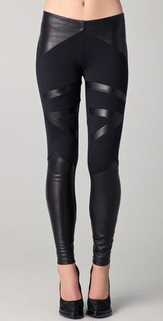 David Lerner - Tribal Leather Insert Leggings