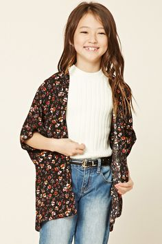Forever 21 Girls - A woven kimono featuring an allover floral print, open-front, and short dolman sleeves.