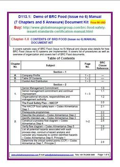 13 best brc food certification images on pinterest food safety rh pinterest com iso 22000 food safety management system manual pdf food safety management system manual example