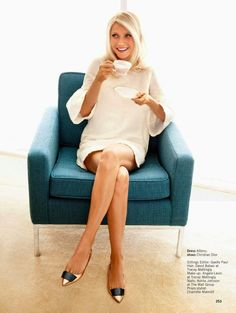 Gwyneth Paltrow, mod, shift dress, cream color, white dress, blonde bob, short blonde hair, sophisticated, simple white, great flat shoes, sexy flats, polished