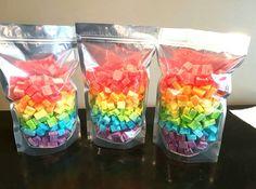 Freeze dried Jell-O rainbow treats.