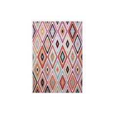 This area rug is sure to put you into a good mood! The characteristic rhombus pattern of traditional Kilim rugs is interpreted in a new way and contrasted with vibrant colours. Made of high-quality micro fiber this stylish weave rug instantly transforms any room into a modern, casual home.