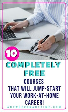 Looking for a career change that gets you out of an office cubicle and into a home office? These 10 free courses can help you figure out what kind of home business to start! Skip the scammy pyramid schemes and try this guide instead! Work From Home Business, Online Work From Home, Work From Home Tips, Starting A Business, Online Business, Business Ideas, Web Business, Business Products, Online Careers