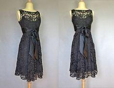 vintage cocktail dress / 80s black lace by bitterrootvintage