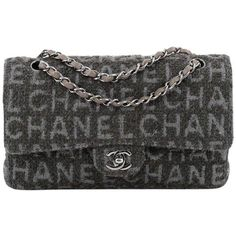 Chanel Classic Double Flap Bag Printed Quilted Tweed Medium ($1,795) ❤ liked on Polyvore featuring bags, handbags, quilted handbags, tweed purse, tweed bag, chanel and green bag