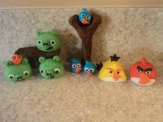 Angry Birds Cake Decorations  (made out of fondant)