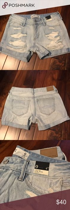 NWT Abercrombie & Fitch denim shorts -  size 0 NWT Abercrombie & Fitch destroyed denim shorts -  size 0. Low rise, light denim, cute for summer!! Lmk if you have any questions 👍🏽😊 Abercrombie & Fitch Shorts Jean Shorts