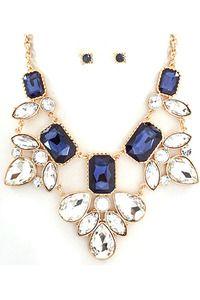 Gold/Blue Statement Necklace
