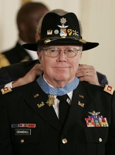 Bruce Perry Crandall (born February 17, 1933) is a retired US Army officer who received the Medal of Honor for his actions during the Battle of Ia Drang. During the battle he flew 22 missions in an unarmed helicopter into enemy fire to bring ammunition and supplies and evacuate the wounded. By the end of the Vietnam War, he had flown over 900 combat missions.