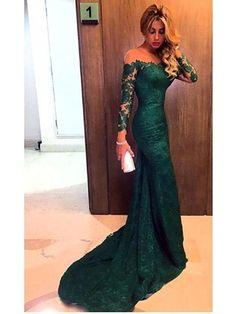 Olive Green Mermaid Long Sleeve Lace Prom Dress 2017
