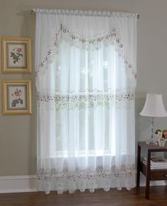 Vintage Sheer Macrame Lace Curtain and Tier Swag Curtains, Lace Curtains, Curtain Ideas, Curtain Designs, Elegant Home Decor, Elegant Homes, Curtains Without Holes, Lace Window, Valances