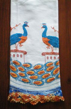 Vintage Hand Embroidered and Crocheted Towel by DeesLittleShop, via Etsy.