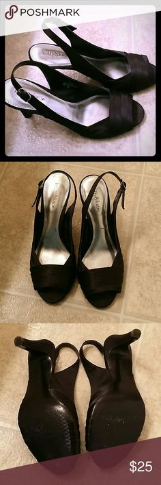 Black Satin Pumps Open toe, sling-back heels for a night on the town. Size 91/2. 21/2-3 inch heel. Good to wear for long periods of time. Excellent condition! Kelly & Katie Shoes Heels
