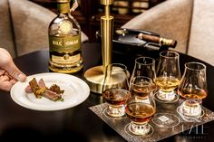 Tasting whisky-set with amuse bouches. Whisky & Cigar Lounge at Quale Restaurant in Lodz, Poland