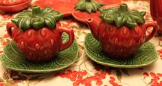 Strawberry sugar and creamer set with underplates