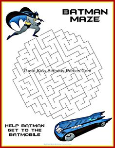 Free Batman Printables - Including coloring pages, invitations, logos, emblems, masks, stickers, paper craft & lots more, all free.