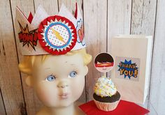 Super Hero birthday,Superhero Party, Super hero crown,Super hero cupcake picks…