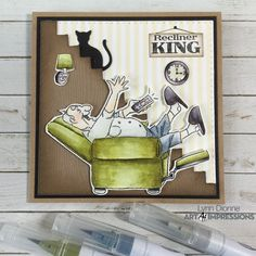 Art Impressions Blog King Card, Art Impressions Stamps, Wall Accessories, Graph Paper, Masculine Cards, Brush Pen, Laugh Lines, Some Fun, My Images