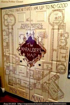This is an incredible decorating idea for Harry Potter fans. Paint the Marauder's Map on a set of double doors.