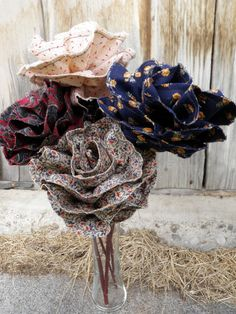Fabric Flower Bouquet by laurenhill1 on Etsy, $35.00