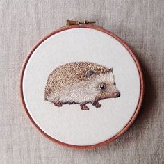 In honour of the hedgehog in our garden - I decided to embroider the cutest hedgehog on Instagram!! @biddythehedgehog :) :) hope he likes it! :)