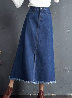 Casual High Waist Maxi A-line Denim Skirt with Tassel - Maxi Skirts - Black Skirt Outfits, Midi Skirt Outfit, Girly Outfits, Dress Skirt, Teenage Outfits, Trendy Outfits, Denim Fashion, Skirt Fashion, Fashion Outfits