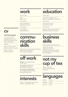 preciosos diseños de currículums que querrás robarte Creative layout for CV. Although the idea of 'not my cup of tea' seems utterly…Creative layout for CV. Although the idea of 'not my cup of tea' seems utterly… Resume Layout, Resume Cv, Free Resume, Basic Resume, Simple Resume, Unique Resume, Business Resume, Resume Format, Cv Inspiration