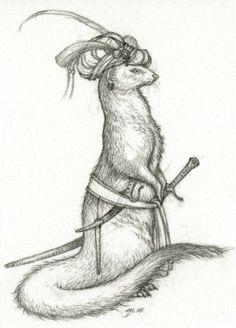 Manjun the Mongoose drawing by Niroot Puttapipat