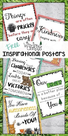 These FREE inspirational posters for the classroom will make teaching and learn about kindness, character, and growth mindset ideas fun! Inspirational Classroom Posters, Some Inspirational Quotes, Preschool Classroom, Classroom Themes, Classroom Secrets, Classroom Birthday, Classroom Design, Teaching Kindergarten, Preschool Activities