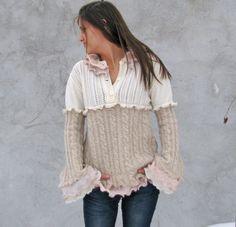 Women Sweaters Cardigans   Outerwear  Tunics Upcycled Sweater Tunic,  Recycled Sweater... size S/M. $86.00, via Etsy.