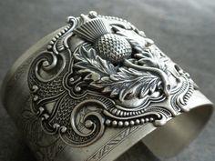 Silver Thistle Bracelet Cuff Scottish Jewelry