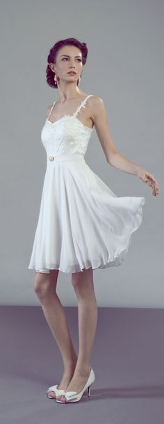 French lace and chiffon short wedding or rehearsal dress
