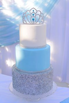 Cinderella Birthday Party Cake Table / Princess / Blue / Girl / Silver / Glitter #SilverGlitter