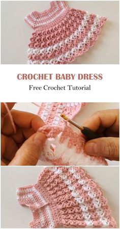 This lovely and amazing dress will become a favorite dress of all children immediately, because it is very comfortable and at the same time beautiful. Crochet Baby Dress Free Pattern, Crochet Toddler Dress, Baby Cardigan Knitting Pattern Free, Crochet Baby Sweaters, Newborn Crochet Patterns, Baby Sweater Patterns, Baby Dress Patterns, Baby Girl Crochet, Crochet Doll Clothes