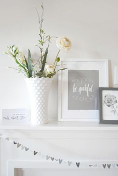 Check out this simple mantel design for Valentines Day featuring a DIY Heart Punch Garland! (Image via Griffanie) - stitch paper grland on sewing maching, genius! All White Room, Bookshelf Styling, Home Organisation, Faux Fireplace, Pretty Room, White Decor, Accent Furniture, Beautiful Interiors, Seasonal Decor
