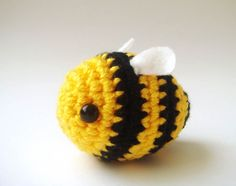 Crocheted Bumble Bee - $12.00. sabahnur on Etsy. amigurumi cute bee..    * crocheted with acrylic yarn and stuffed by fiberfill.  * 6mm safety eyes and felt for wings..  * adorable for decorating : a bag, a hat, a headband, a hairtie, a miniature tree    *Lovely and cute for Easter decoration..