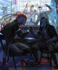 Aliens arm wrestling in a bar, space opera / sci-fi inspiration Opposition by madnessdemon on DeviantArt Space Fantasy, Sci Fi Fantasy, Alien Creatures, Fantasy Creatures, Rpg Cyberpunk, Sci Fi Kunst, Space Opera, Sci Fi Rpg, Alien Character