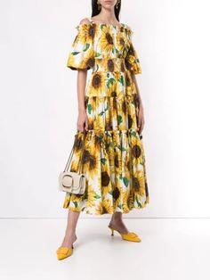 Dolce & Gabbana Sunflower Print Long Dress | Farfetch.com Frou Frou, Sunflower Print, Women Wear, Short Sleeves, Feminine, Cotton, Fashion Design, Clothes, Dresses
