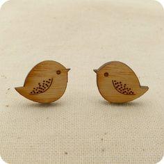 Chubby bird stud earrings - wooden jewellery accessories