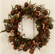 Candy Cane Jingle Bell Artificial Christmas Wreath For Front Door -20 Inches- Silk Evergreens And Red Berry Clusters Handcrafted On A Natural Grapevine Wreath For Winter Holiday Display