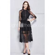 2015 Autumn European and American Style Sexy Lace 3/4 Sleeve Dress Big Swing Dress Black Buttons Women Dress HNZ0806 - USD $54.50