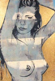 "DAVID BROMLEY Nude ""Laura"" Polymer & Gold Leaf on Canvas 90cm x 60cm"