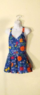 SKIRTED Abstract Flower VINTAGE One Piece by BeauMondeVintage, $48.00