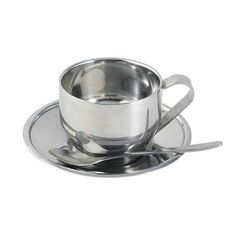 High Quality Stainless Steel Coffee Cup Saucer And Spoon Set Double Wall Cups Coffeeware In 2018 Pinterest