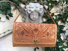 VTG Artisan Hand Tooled TAN Saddle LEATHER Handbag BAG W/Southwest Floral Design #Handmade #Vintage