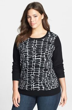 Sejour Jacquard Front Merino Sweater (Plus Size) available at #Nordstrom