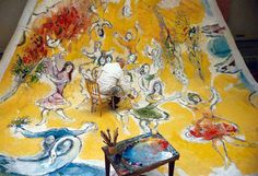 Marc Chagall in his studio painting the future ceiling of the Opera of Paris. Photo by Izis Bidermanas. 1964